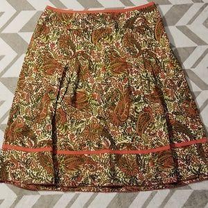 Ann Taylor Paisley Pleated Lined Skirt Sz 6